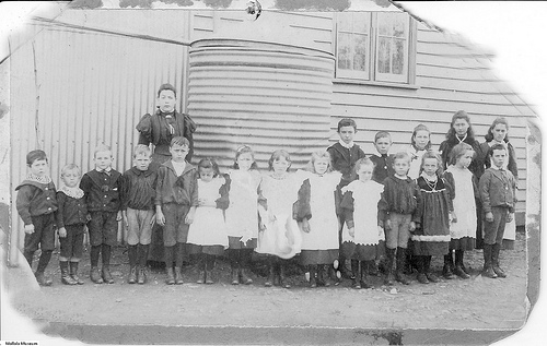 School with rainwater storage tank, ca 1900. CC licensed image courtesy of Mallala Museum.