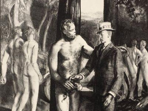 Barnstaple receives final instruction before his cross-time journey home. Portion of a George Bellows illustration from the 1923 edition of Men Like Gods.
